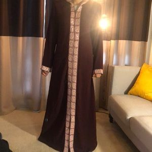 Burgundy and Pink Caftan Abaya
